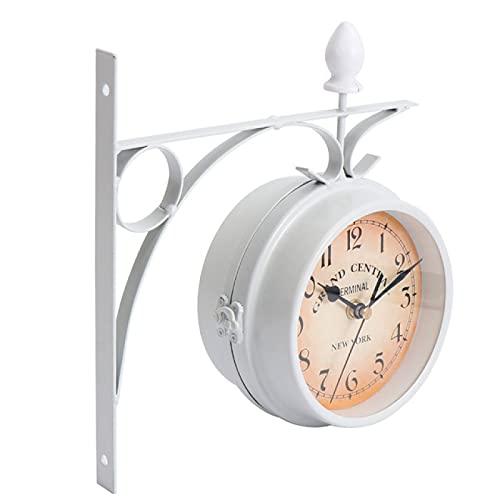 Reloj de Pared Reloj de Pared Antiguo de Estilo Europeo Relojes Colgantes de Hierro Blanco Reloj clásico de Doble Cara para la decoración de la Oficina en casa