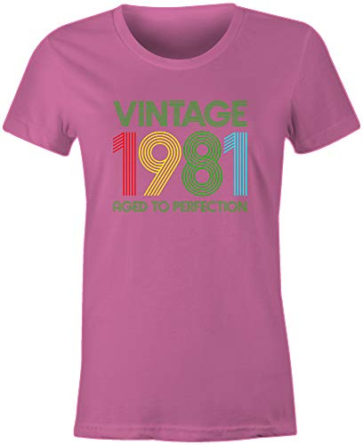 6TN Women's Vintage 1981 Aged to Perfection 40th Birthday T Shirt (Pink,...