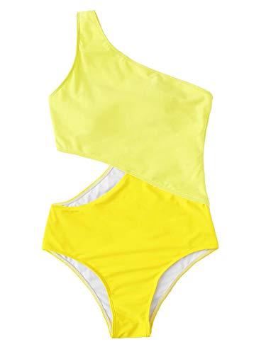 SweatyRocks Women's Bathing Suits One Shoulder Cutout One Piece Swimsuit Swimwear Monokini Yellow Small