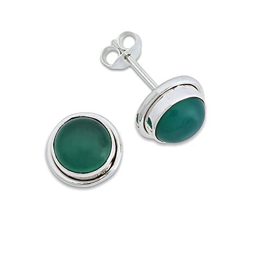 Pendientes de plata 925 con ónix verde (No: MOS 43-14)