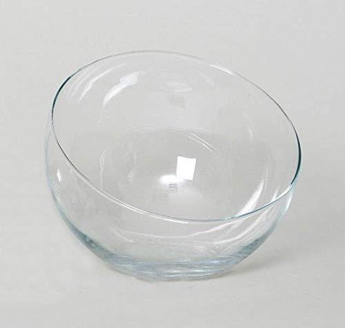 INNA-Glas Jarrón Redondo con inclinación Nelly de Cristal, Transparente, 18cm, Ø 16,5cm...