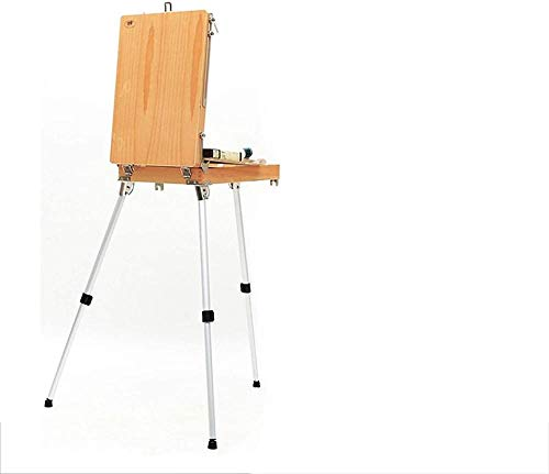 Caballete de arte Soporte de madera Caballete de pintura Cuaderno de bocetos para el caballete del artista Mesa para dibujar Aleación de aluminio Caja de artista Suministros de arte Caballete Upg
