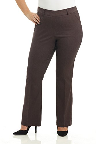 Rekucci Curvy Woman Ease into Comfort Barely Bootcut Plus Size Pant (20W,Brown Mix)