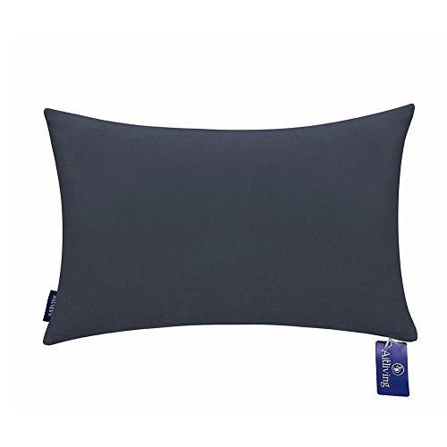 Aitliving Throw Pillow Covers 12x20 inches Cotton Velvet Slate Blue Decorative Pillowcase with Cotton Linen Reverse Boudoir Pillow Cover 1PC 30.5x50cm Navy Muted Dark Blue