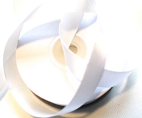 CaPiSo 25m 15mm Satinband 1,5 cm Dekoband Weihnachten Schleifenband Geschenkband Dekorationsband (Weiss)