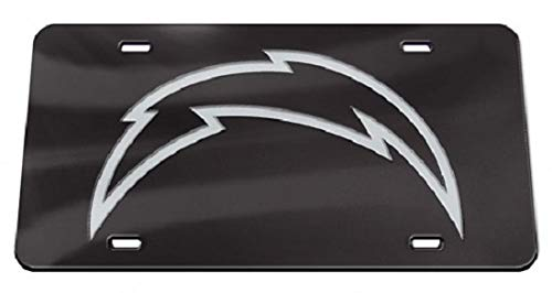 WinCraft Los Angeles Chargers Black Crystal Mirror Laser License Plate