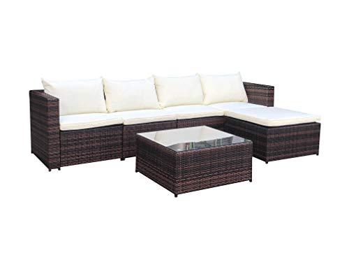 EVRE Rattan Outdoor Garden Furniture Set Miami Sofa Coffee Table, Foot Stool Rattan (Brown)