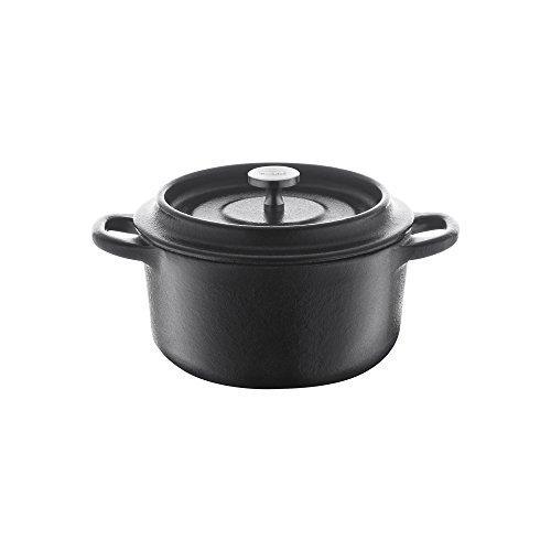 Berndes 034141 Plat à rôtir en Fonte Mini Cocotte Ronde 10 cm en Fonte avec Couvercle en émail, 350 ML, Noir