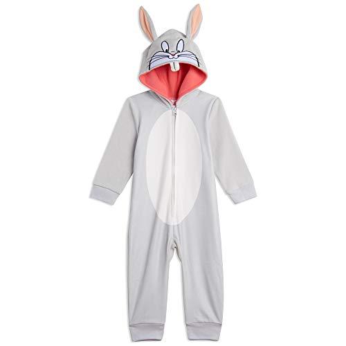 Looney Tunes Buggs Bunny Little Girls Zip-Up Costume Onesie Pajama Coveralls 7-8