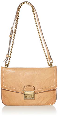 antiqued flap crossbody 1 interior zip pocket, 2 interior slip pockets, 1 exterior back slip pocket adjustable chain shoulder strap Dimensions: 9.25 inches H x 6.5 inches W x 1 inches D; 18 inches  strap drop