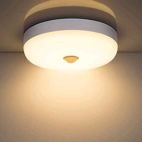 Combuh Plafones LED con sensor de movimiento, 15w 1500LM 3000K blanco cálido redondo lampara de techo con detector, impermeabl IP56 luz led para habitacion balcón pasillo salon cocina baño garaje