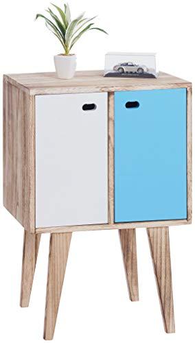 ts-ideen Schrank Regal Kommode Sideboard Flur Diele Kinderzimmer Holz Regal Braun 2 Bunte Türen 70 x 46 cm