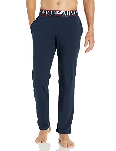 Emporio Armani Herren Megalogo Trousers Pyjama-Oberteil (Top), Marineblau, Small
