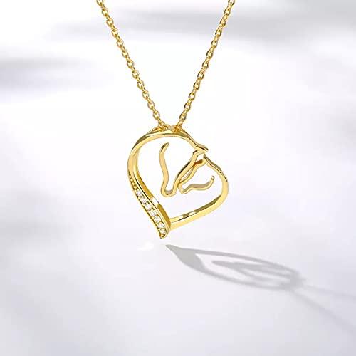 QiuYueShangMao Collar de corazón de Amor de Cristal para Mujer Gargantilla de Diamantes de imitación Collar con Colgante de Cadena de Color Dorado Regalo de joyería de San Valentín Regalo para Ella