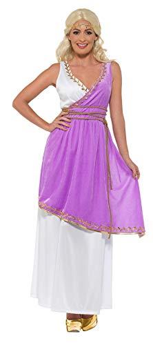 Smiffys Grecian Goddess Costume Disfraz de Diosa Griega, Color Blanco y Morado, L-UK Size 16-18 (47469L)