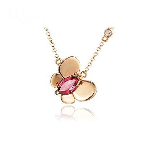 AnaZoz Halsketting voor dames, 18 karaats goud, robijn hanger, halsketting, 0,75 karaat, roségoud, 40 cm