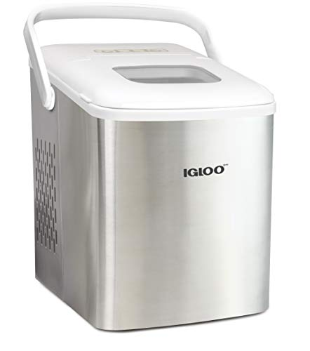Igloo ICEB26HNSSWL Stainless Steel Automatic Self-Cleaning Portable Electric Countertop Ice Maker Machine With Handle, 9 Ice Cubes Ready in 7 minutes, With Ice Scoop and Basket, Stainless/White