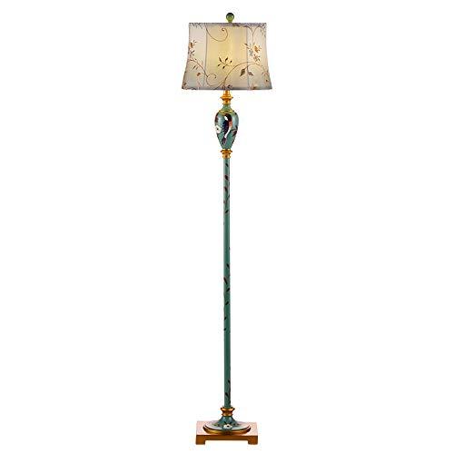 HALORI Lampadaires Lampadaire Design rétro Traditionnel - Motif Fleurs et Oiseaux Peints, Lampe à Poser Grand Salon (Bleu-Vert)