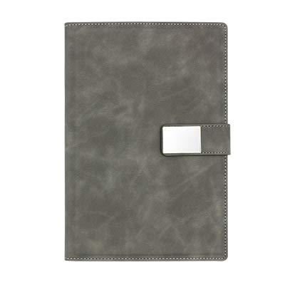 JPYH Cuaderno de Cuero A5 Libreta de Suministros de Oficina Cuaderno de Negocios con Hebilla magnética Cuaderno de Estudiante para Oficina de Negocios de Cuello Blanco (Gris)