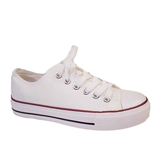Zapatillas de mujer de tela con suela de goma, Blanco (blanco), Fr 38