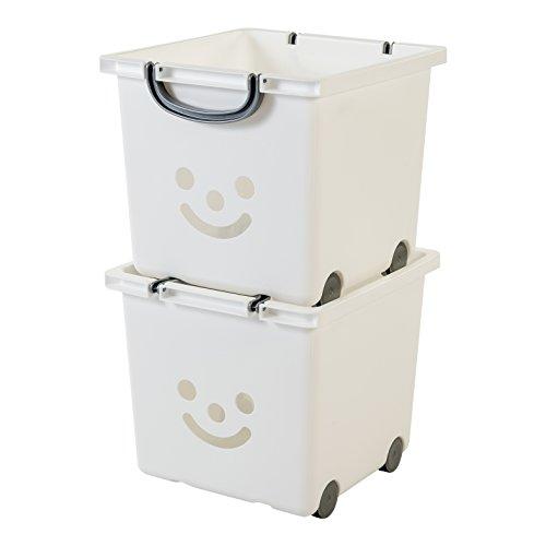Iris Ohyama, lote de 2 cajas grandes de almacenamiento de juguete sobre ruedas - Smiley Kids Boxes - KCB-32, blanco, 25 L, 32 x 33 x 29 cm