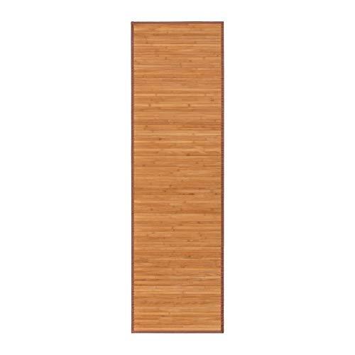 Alfombra pasillera Oriental marrón de bambú de 60 x 200 cm Sol...