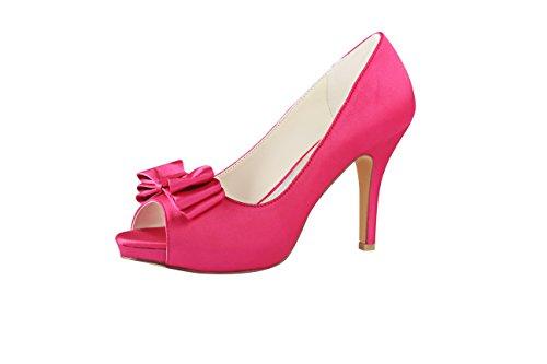 Emily Bridal Rosa Zapatos de Boda Seda Peep Toe Arco resbalón en...