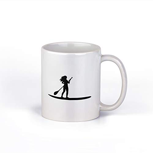 Stand Up Paddleboard Girl Ceramic Coffee Mug | SUP Coffee Cup | 11-Ounce Coffee Mug | M139