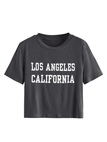 SweatyRocks Women's Letter Print Crop Top T Shirts Casual Short Sleeve Cropped Tee Grey L