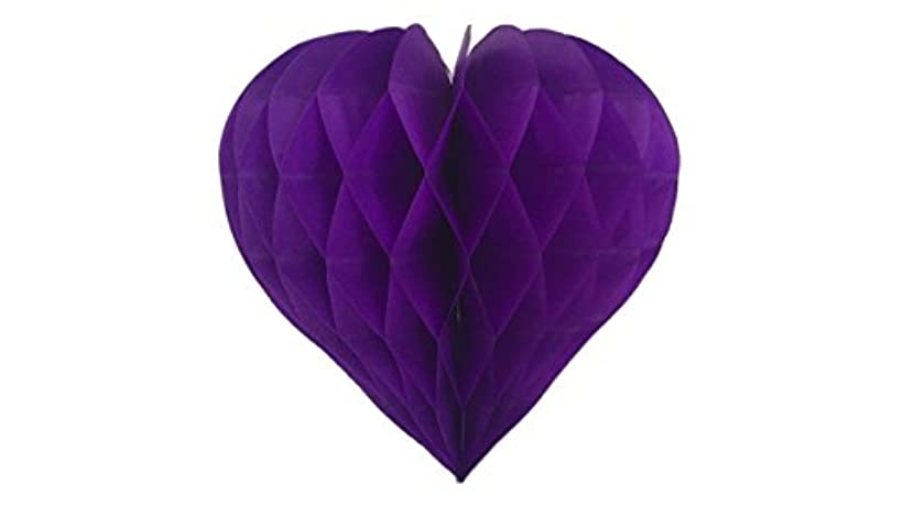 Matissa Pack of 3 Valentines Decoration Heart Shaped Paper Honeycomb Birthday Party Wedding Available in 11 Colours 3 Sizes (All Purple, 10