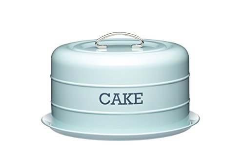 Kitchen Craft Living Nostalgia Airtight Cake Storage Tin/Cake Dome, 28.5 x 18 cm - Vintage Blue