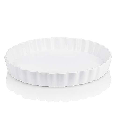 LOVECASA Quiche-Form Porzellan, Aufbackform 1 teilig Kuchen Auflaufform Tarteform, 1100 ml