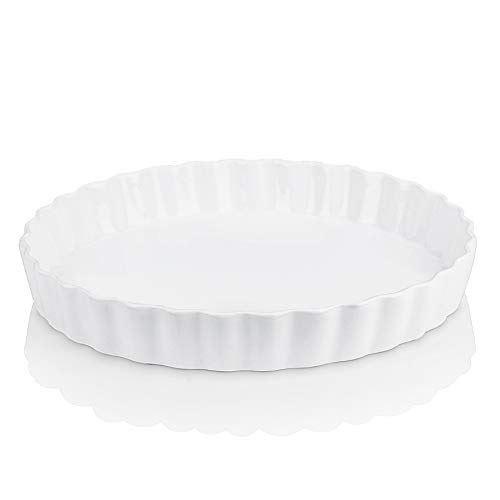 LOVECASA Porcelain Fluted Quiche Baking Dish, 37 oz Round Quiche Dish Baking Pan, Ceramic Nonstick Tart Pan Perfect for Baking, Creme Brulee,Crustless Quiche,10.8 x 10.8 x 1.5 inch