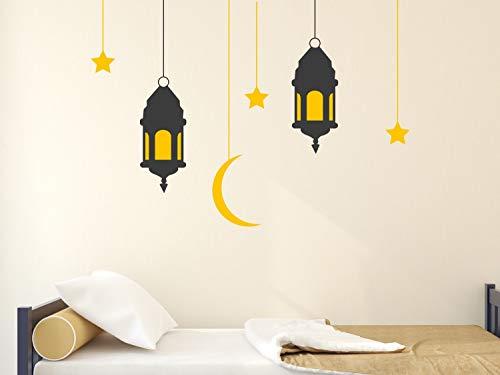 Dozili hanglantaarns met sterren en maan muursticker opknoping lantaarn muur Stickers 23