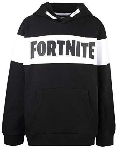 Epic Games FORTNITE Jungen Hoodie Sweatshirt mit Kapuze Gr. 140 152 164 176-10 12 14 16 Jahre Schwarz - Weiss (152)