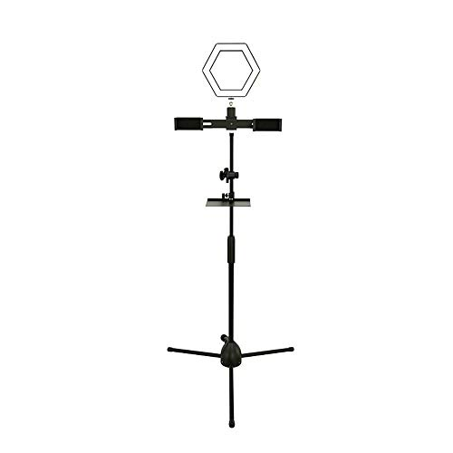 CUIJU Beauty lamp microphone holder USB charging anchor beauty supplement light lamp floor type tripod condenser microphone mobile phone live floor stand,black