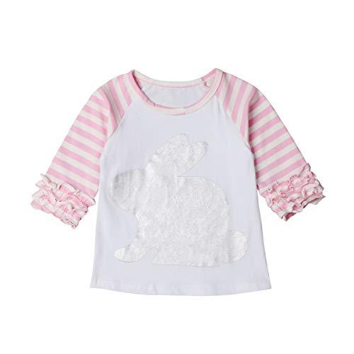 Shawnlen T-Shirt à Manches Longues en Forme de Lapin pour Fillette Easter Day (18-24 Mois, Rose)