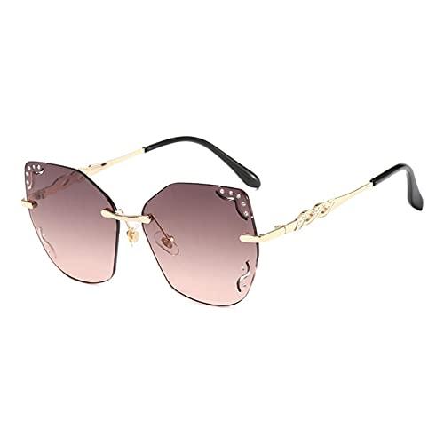JINZUN Gafas de Sol de Moda, Borde de Corte Personalizado, Lente oceánica, Espejo Parasol, Gafas de Metal Huecas con Diamantes, Montura Dorada, té y Polvo