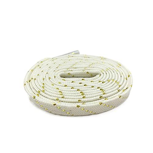 Schnürsenkel Schwarz-Weißgold Schnürsenkel Glänzend Wohnung Einzigartige Schnürsenkel Metallic Shoelaces, 672 White Gold, 140cm