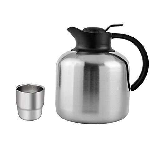 Ensemble de tasse à eau en acier inoxydable thermos +, combinaison de tasse à café en acier inoxydable 304 à double isolation, adaptée aux hôtels à la maison-Silver