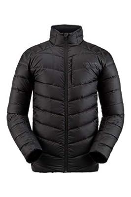 Spyder Men's Timeless Down Jacket – Paneled Puffy Lightweight Full Zip, Large, Black