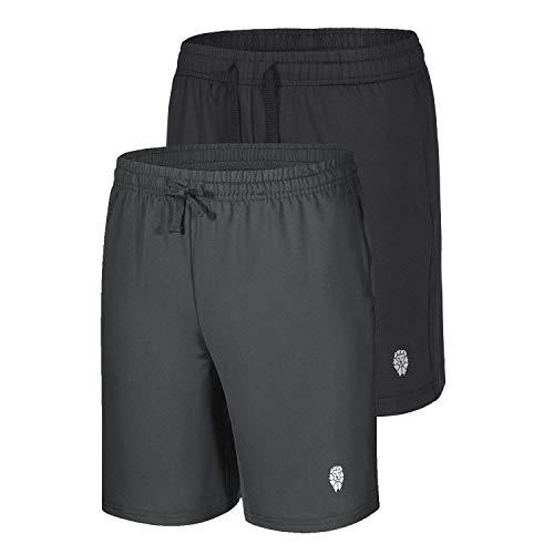 PIQIDIG Jungen Loose Fit Athletic Shorts Quick Dry Active Shorts mit Tasche, 2er Pack, Jungen, schwarz / grau, X-Large