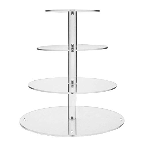 Display4top Clear Acrylic Glass Cupcake Stand For Wedding (4 Tier Round)