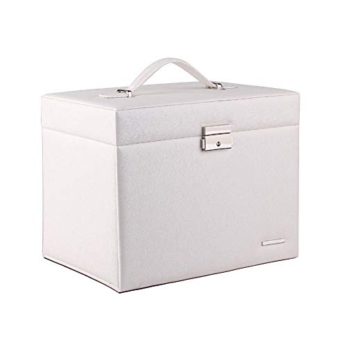 POMNEFE Caja de joyería, caja de joyería de diseño simple blanco, caja de joyería de gran capacidad, collar, anillo y pendiente, caja de almacenamiento de joyas para mujer