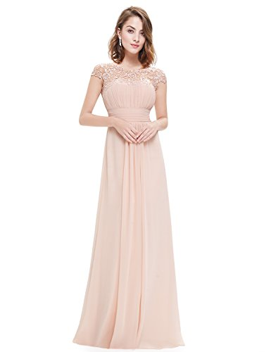 Ever-Pretty Womens Cap Sleeve Lace Neckline Ruched Bust Evening Gown 4 US Blush