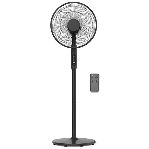 FUTURA Premium 16inch Oscillating Pedestal Standing Fan, Remote Control & Timer 1 ? 18Hrs, 50W, 3 Speed, Adjustable Stand 68-130cm, Ideal Fans for Bedroom, Offices and Homes