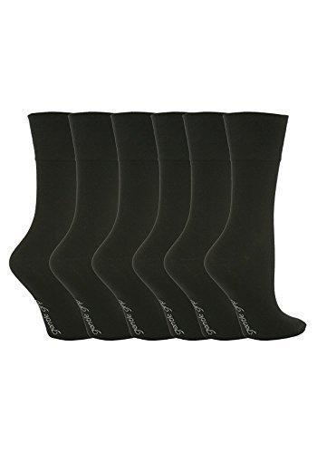 Sockshop - 6 Paare Damen Baumwolle Socken EU 37-42 Einfarbig - EUR 37-42, Schwarz (GG67)