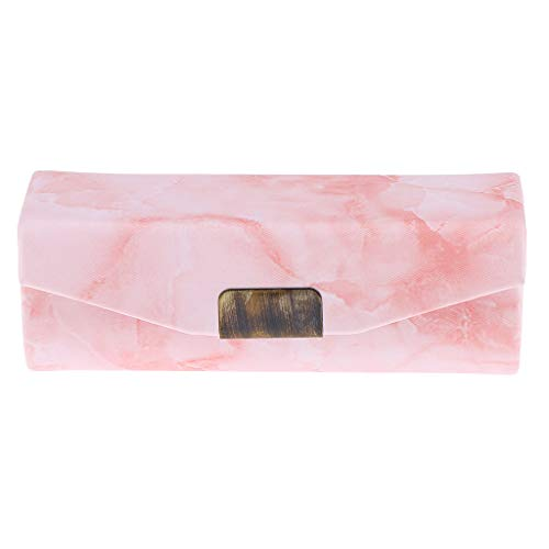 Perfeclan Cas De Support De Rouge à Lèvres De Maquillage De Modèle De Pierre en Cuir Brillant à Lèvres avec Miroir - Rose Orange
