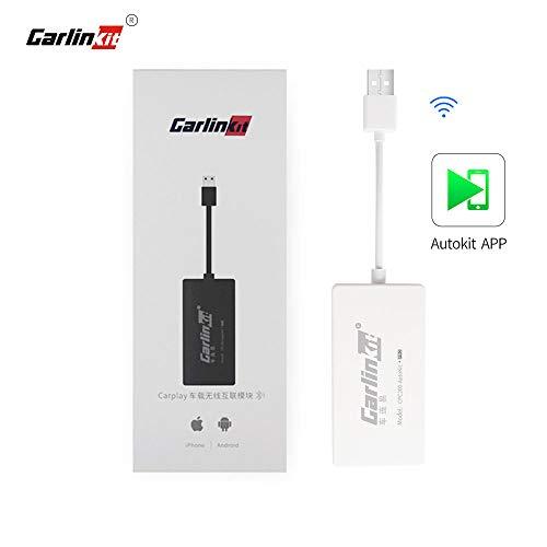 Carlinkit Wireless CarPlay Dongle Wired Android Auto für Autoradio mit Android Head Unit, Autokit-App im Auto installieren, MirrorScreen/iOS13/Maps, Nicht für Fabrik-OEM-Autoradio, Weiß