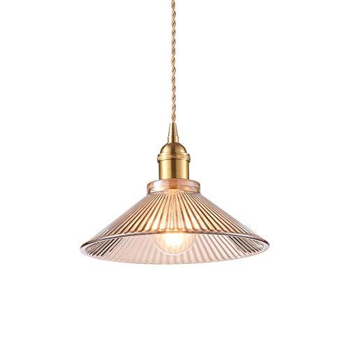 YINGYING Nordic Höhenverstellbare Messing Pendelleuchte , Plissee Kegelglas Lampenschirm Deckenleuchter, Industrielle Vintage Hängelampe for Kücheninsel Restaurant Scheune